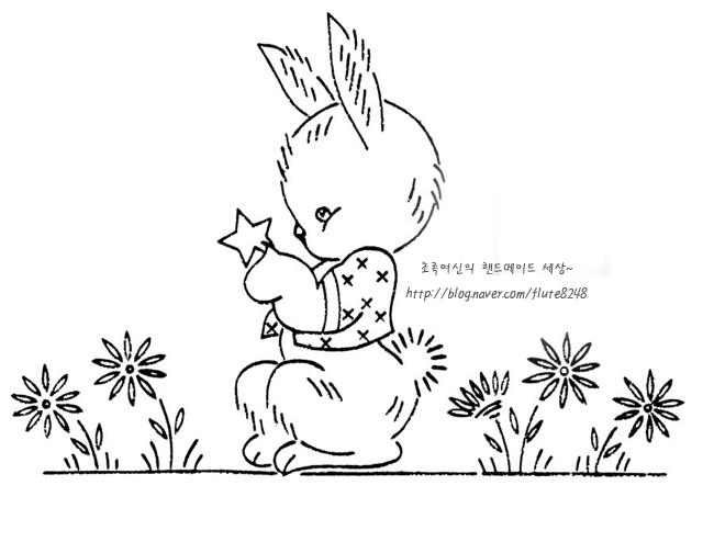 Diy리폼 귀엽고 앙증맞은 토끼 도안스티치아플리케색칠